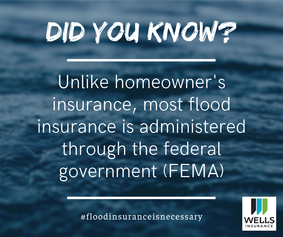 unlike homeowners insurance, most flood insurance is administered through the federal government FEMA