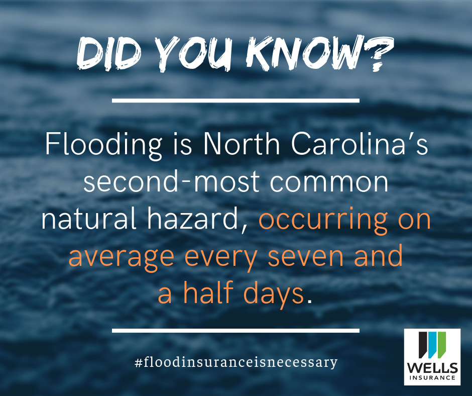 flooding is North Carolina's second most common natural hazard, occurring on average every seven and a half days