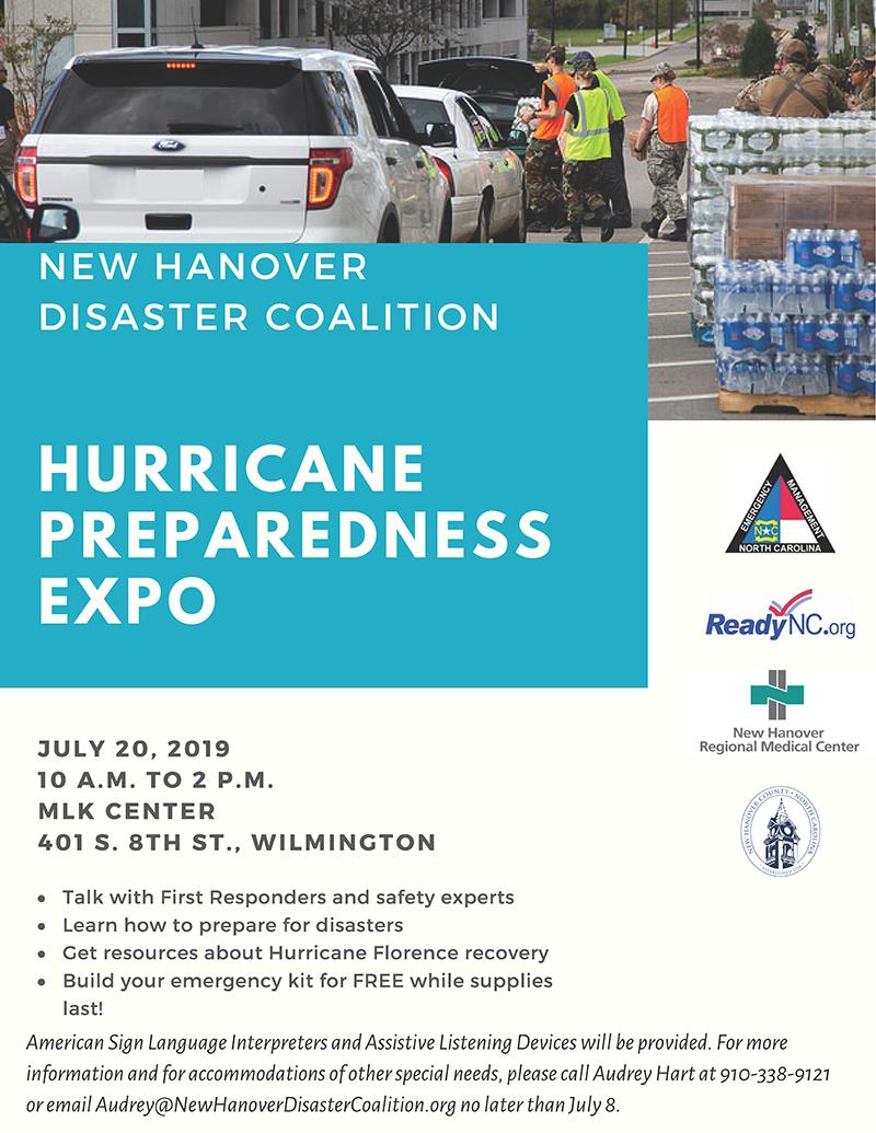 New Hanover Disaster Coalition Hurricane Preparedness Expo - Wilmington NC 7-20-2019