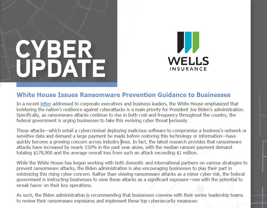 Cybersecurity Measures – White House Issues Ransomware Prevention Guidance