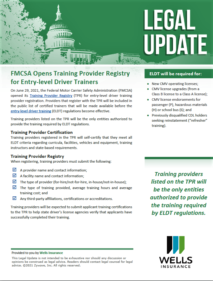 FMCSA Opens Training Provider Registry for Entry-level Driver Trainers